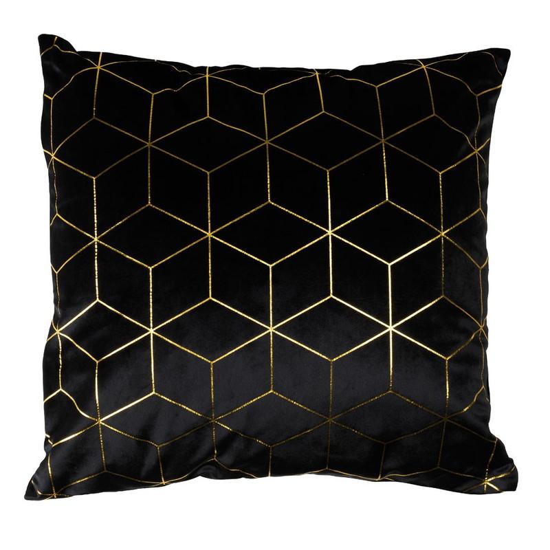 Kussen grafisch - zwart/goudkleurig - 45x45 cm