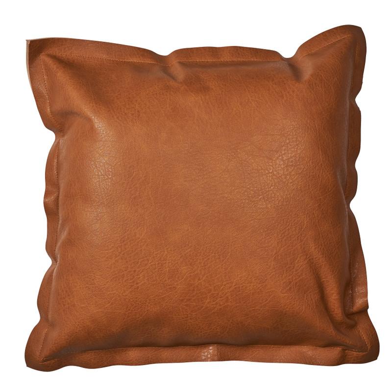 Kussen leer - bruin - 45x45 cm