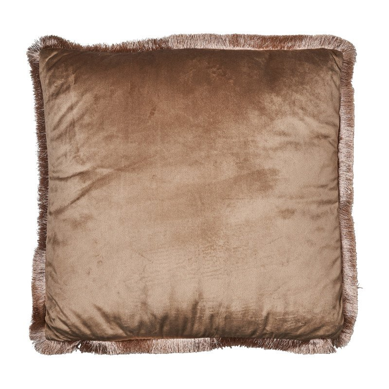 Kussen velvet met franjes - bruin - 45x45 cm