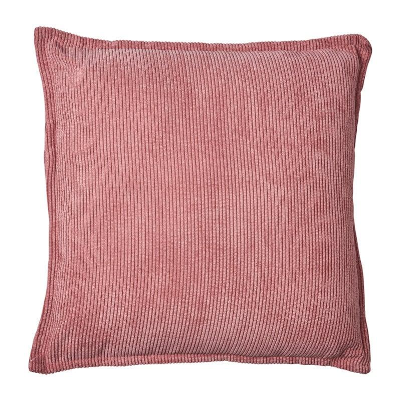 Kussen rib met bies - roze - 45x45 cm