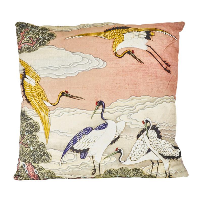 Kussen kraanvogel - roze - 45x45 cm