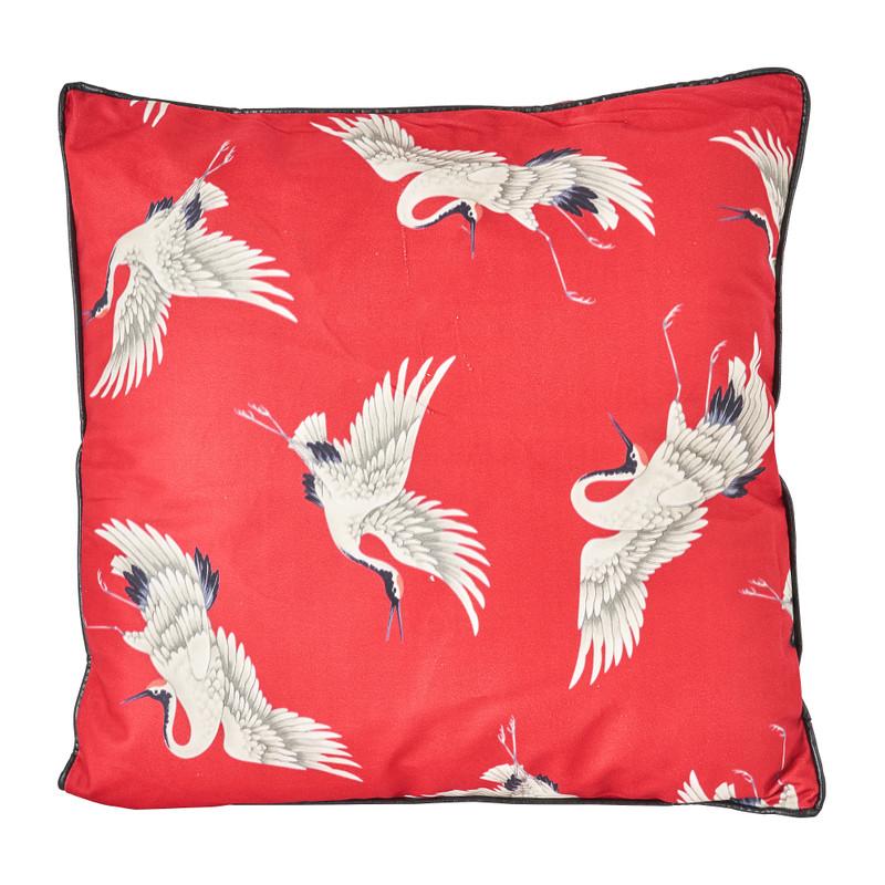 Kussen kraanvogel - velvet rood - 45x45 cm