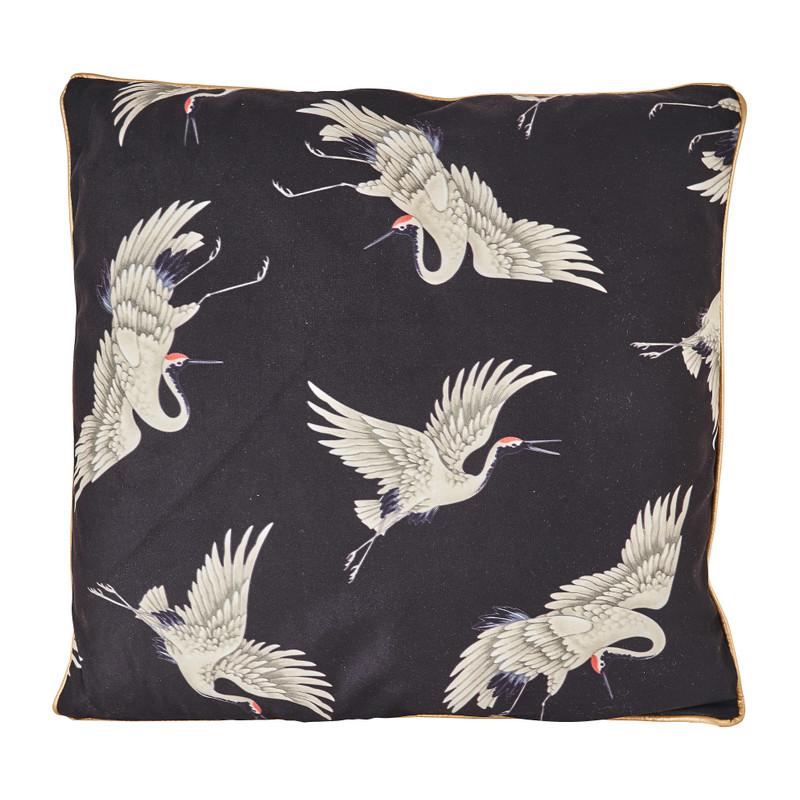 Kussen kraanvogel - velvet zwart - 45x45 cm
