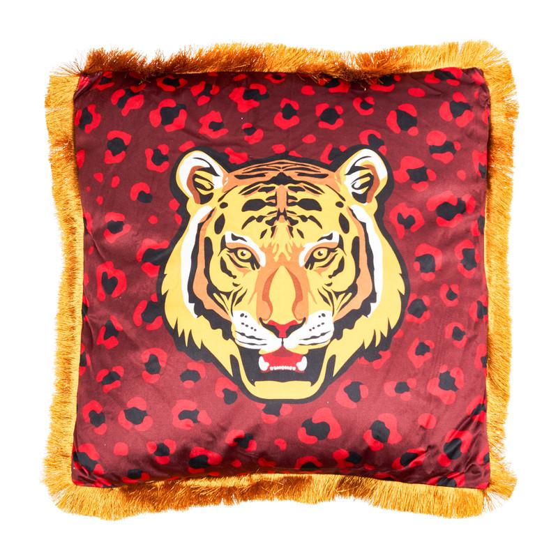 Kussen velvet tijger - rood - 45x45 cm