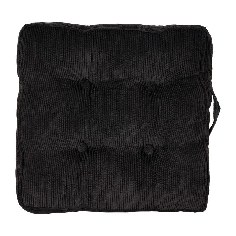 Matraskussen rib - zwart - 45x45x6 cm