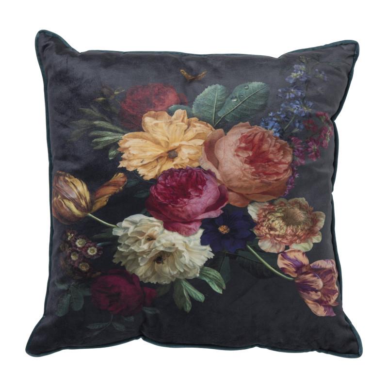 Kussen velvet - bloemen - 45x45 cm