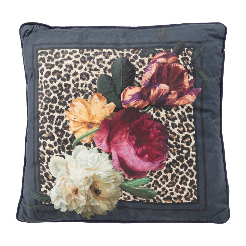 Kussen velvet - luipaard/ bloemen - 45x45 cm
