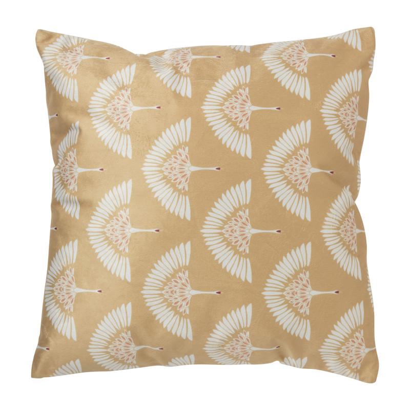 Kussen kraanvogel - geel - 45x45 cm