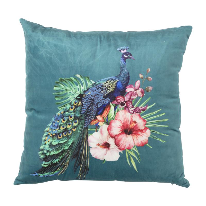 Kussen pauw/bloemen - donkerblauw - 45x45 cm