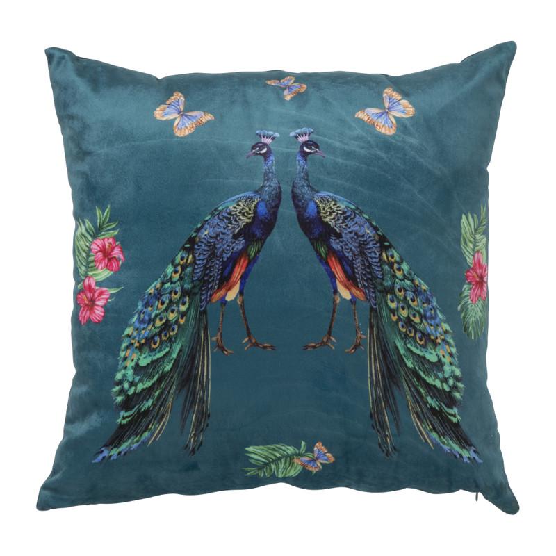 Kussen pauw/vlinders - donkerblauw - 45x45 cm