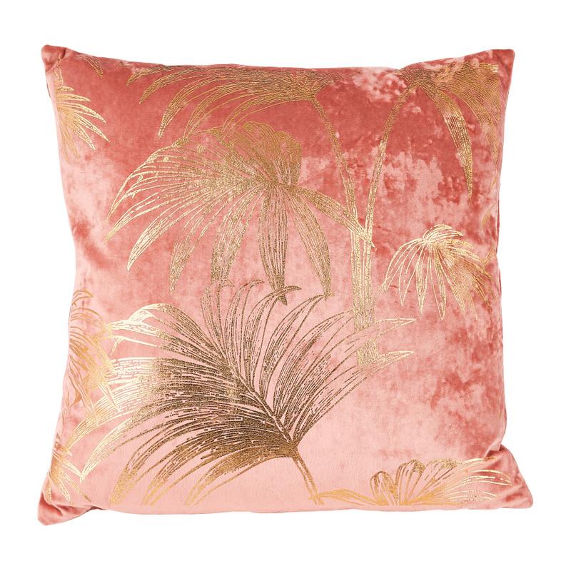 Kussen velvet bladeren - goud/roze - 45x45 cm