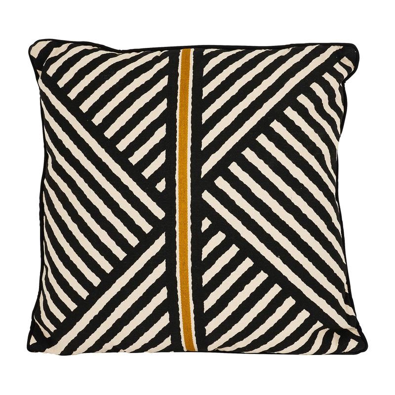 Kussen lijnen - zwart/goud - 45x45 cm