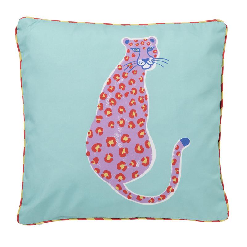 Kussen funky luipaard - blauw - 45x45 cm