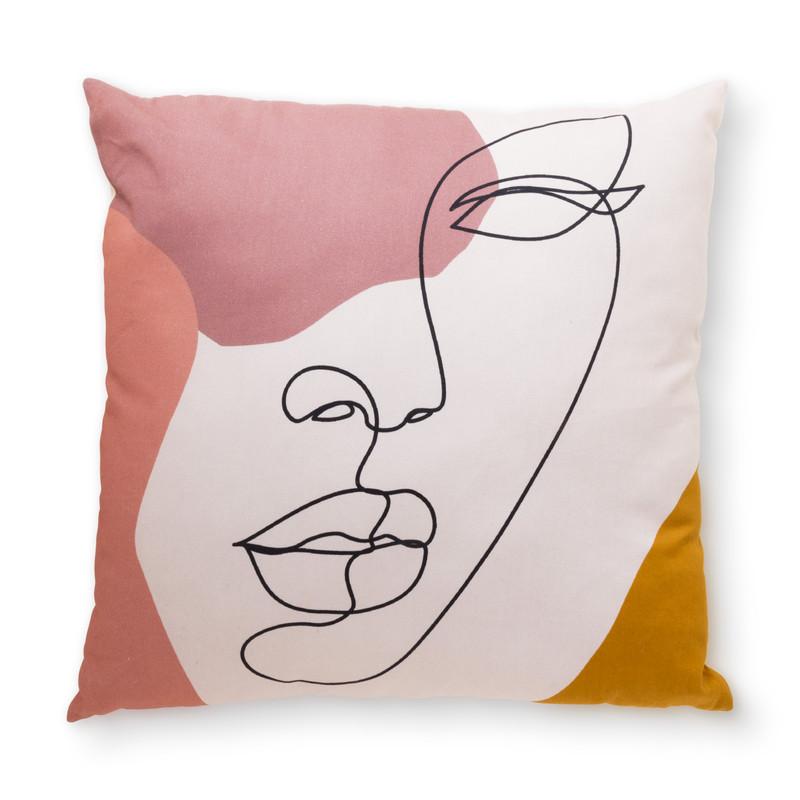 Kussen gezicht - roze - 45x45 cm