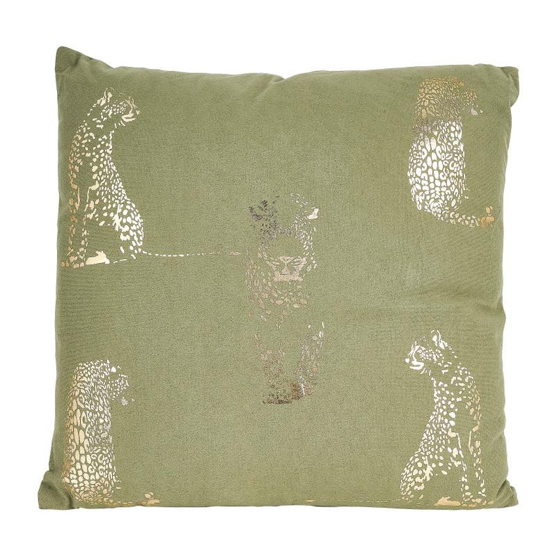 Kusen velvet luipaard - groen - 45x45 cm