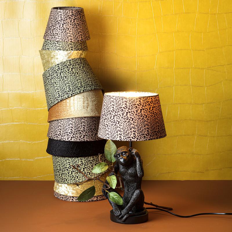 Lampenvoet aap - zwart - 13x17x33.5 cm