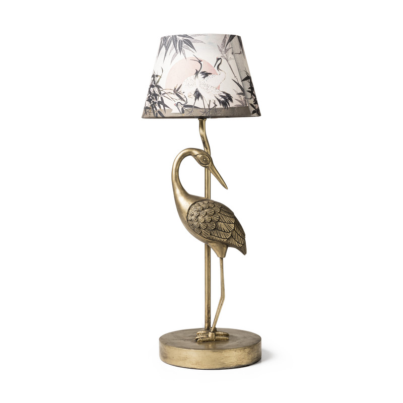 Lampenvoet kraanvogel - goudkleurig - 24x14x41,7 cm