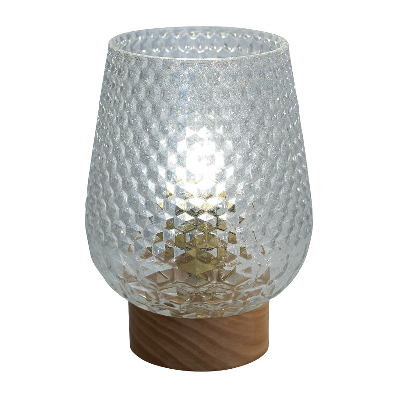 Tafellamp - glas - transparant- Ø12x17cm