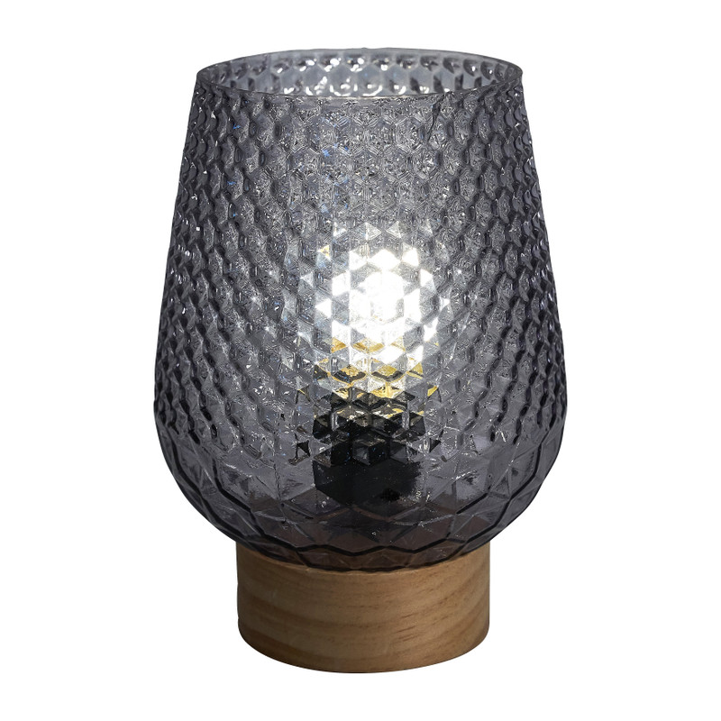 Tafellamp - glas - grijs - Ø12x17 cm
