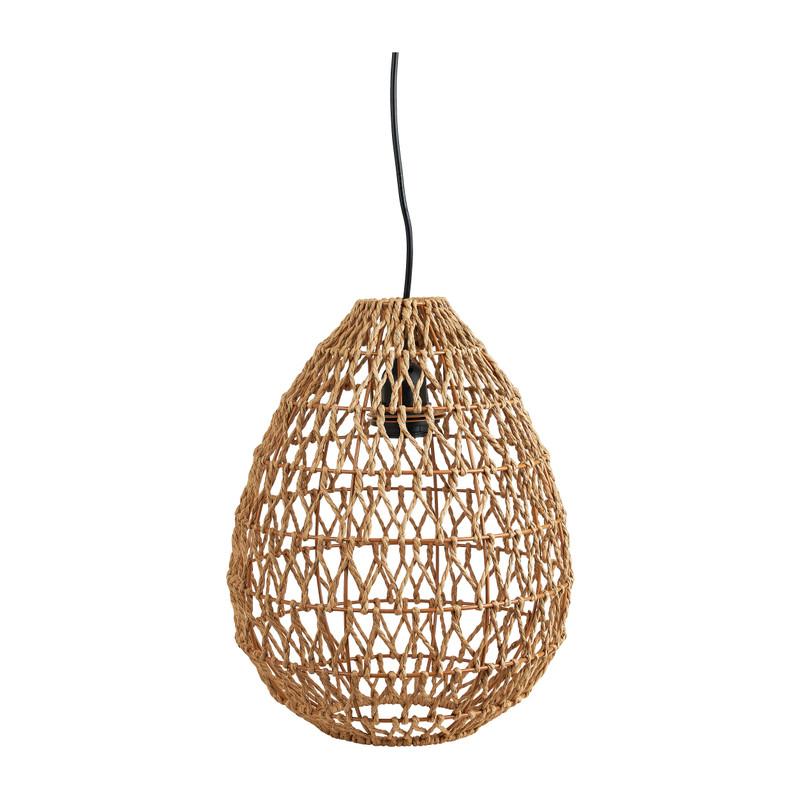 Hanglamp geweven geknoopt - naturel - Ø25x38 cm