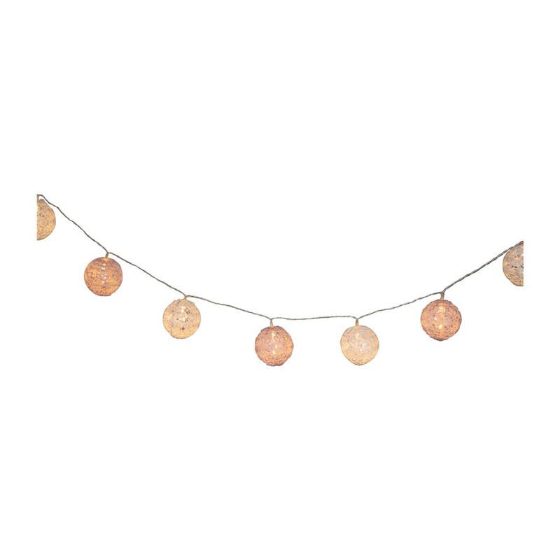 Lichtslinger met kant - roze - 8 lamps
