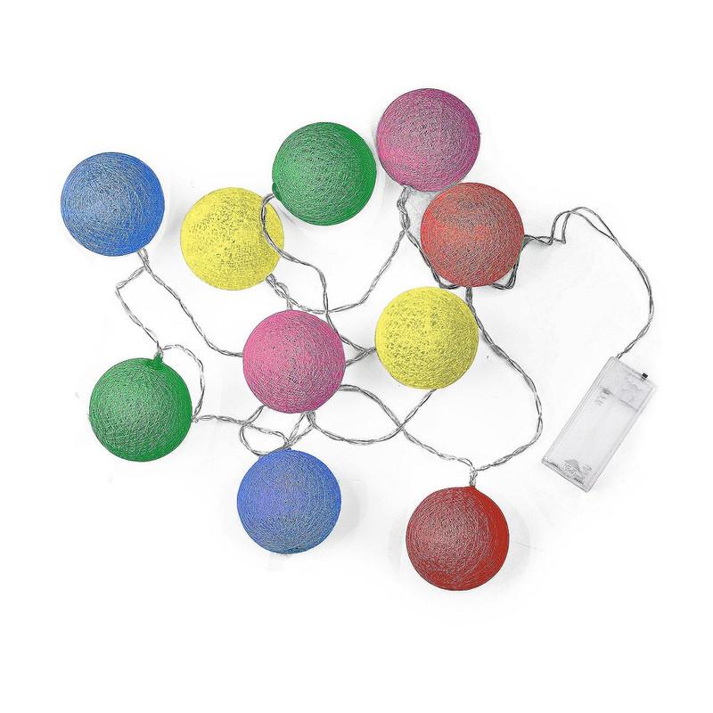Lichtslinger cottonball guirlande - multikleur - 10 lampjes