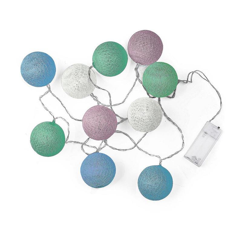 Lichtslinger cottonball guirlande - wit/roze/blauw/groen - 10 lamps