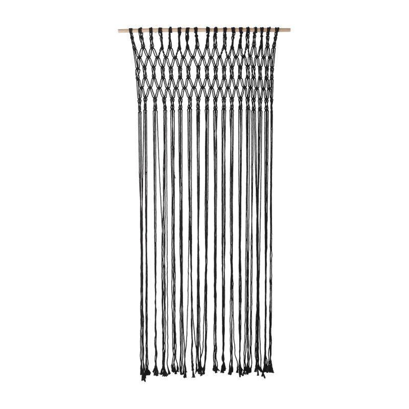 Deurgordijn macrame - zwart - 90x200 cm