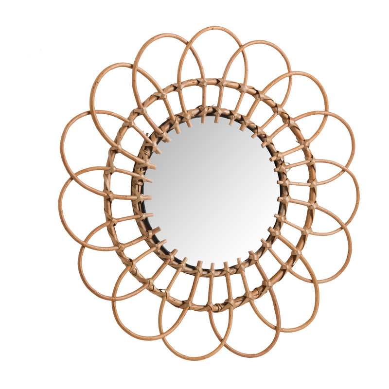 Spiegel rotan lijst - 50 cm