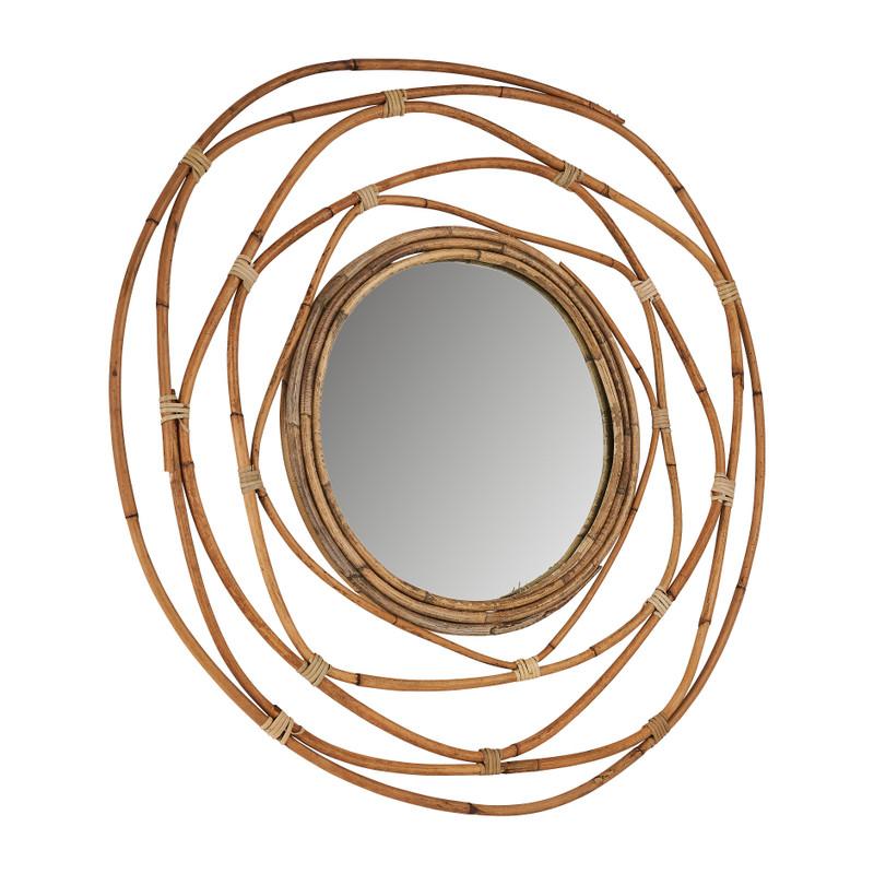 Spiegel met rotan lijst - ø60 cm