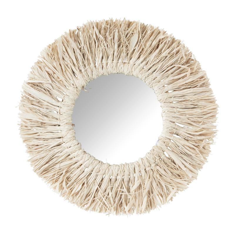 Spiegel met raffia rand - ⌀30 cm