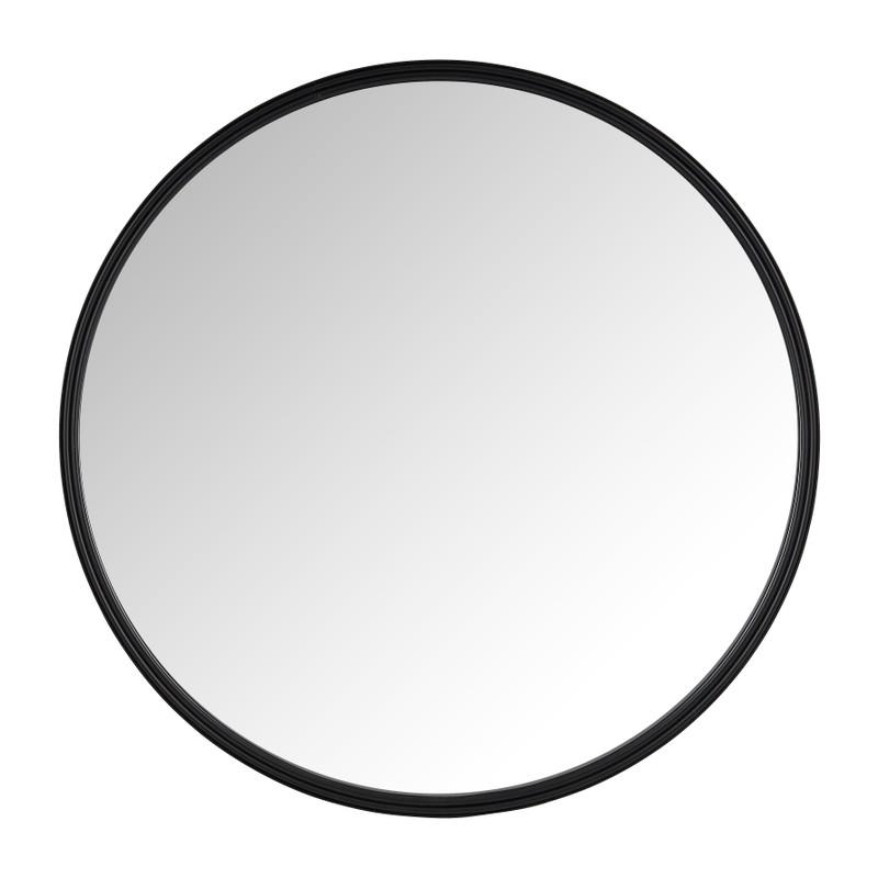 Spiegel rond met metalen lijst - zwart - ø40 cm