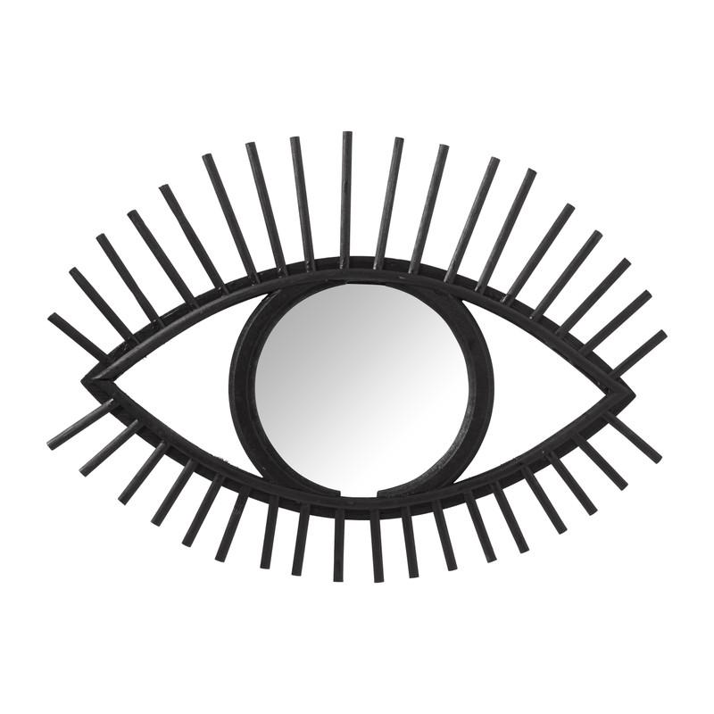 Rotan spiegel oog - zwart - 50x35 cm