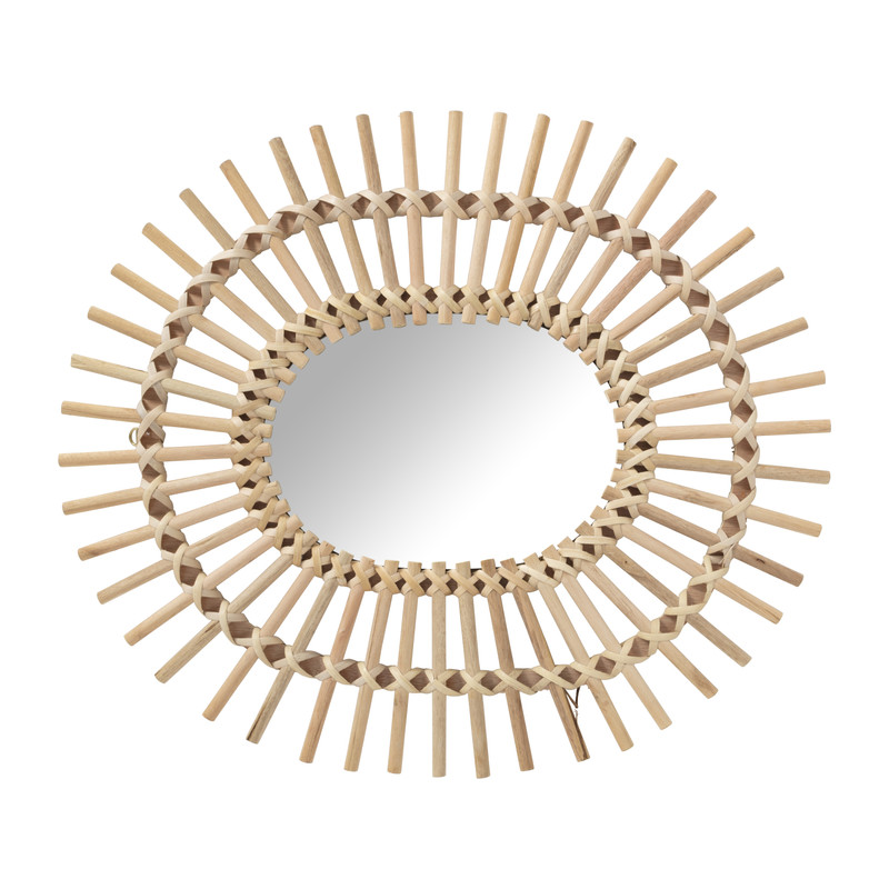 Rotan zonnespiegel - 58x49 cm