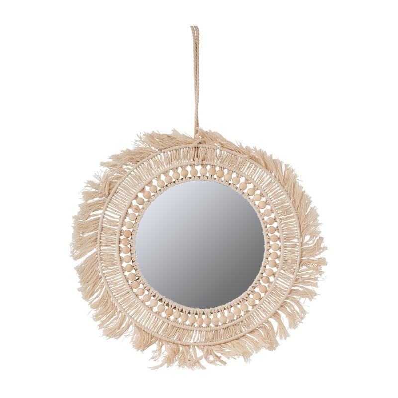 Spiegel met kralen en franjes - ø37 cm