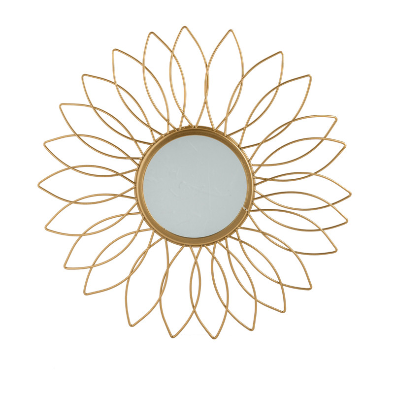 Spiegel zon - goudkleurig - 34 cm