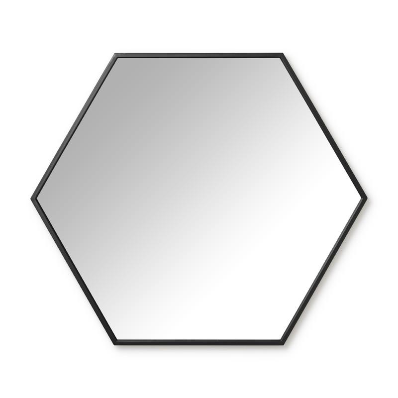 Spiegel hexagon - zwart - 73x63 cm