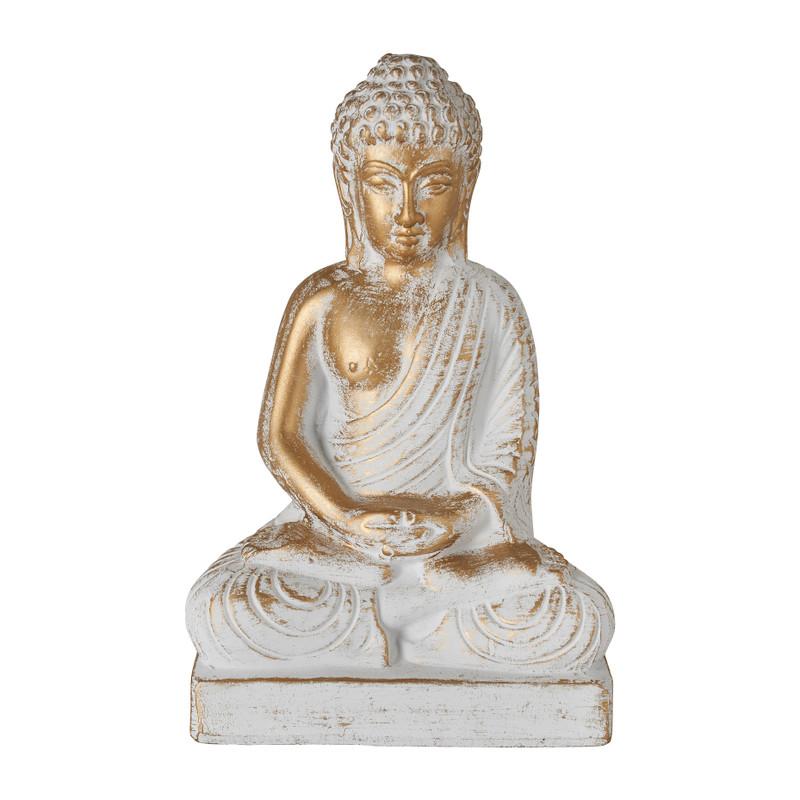 Boeddha zittend - cement/goud - 15.5x9.5x24.5 cm