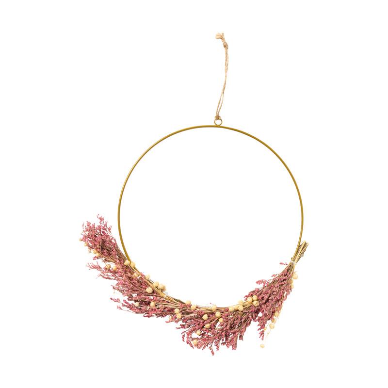 Ring met droogbloemen - bordeau - 25 cm