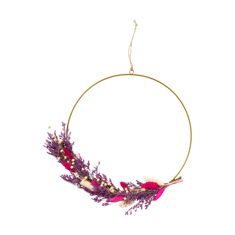Ring met droogbloemen - roze/paars - 30 cm