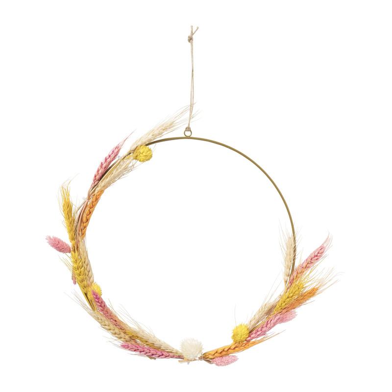 Ring met droogbloemen - roze/geel - 30 cm