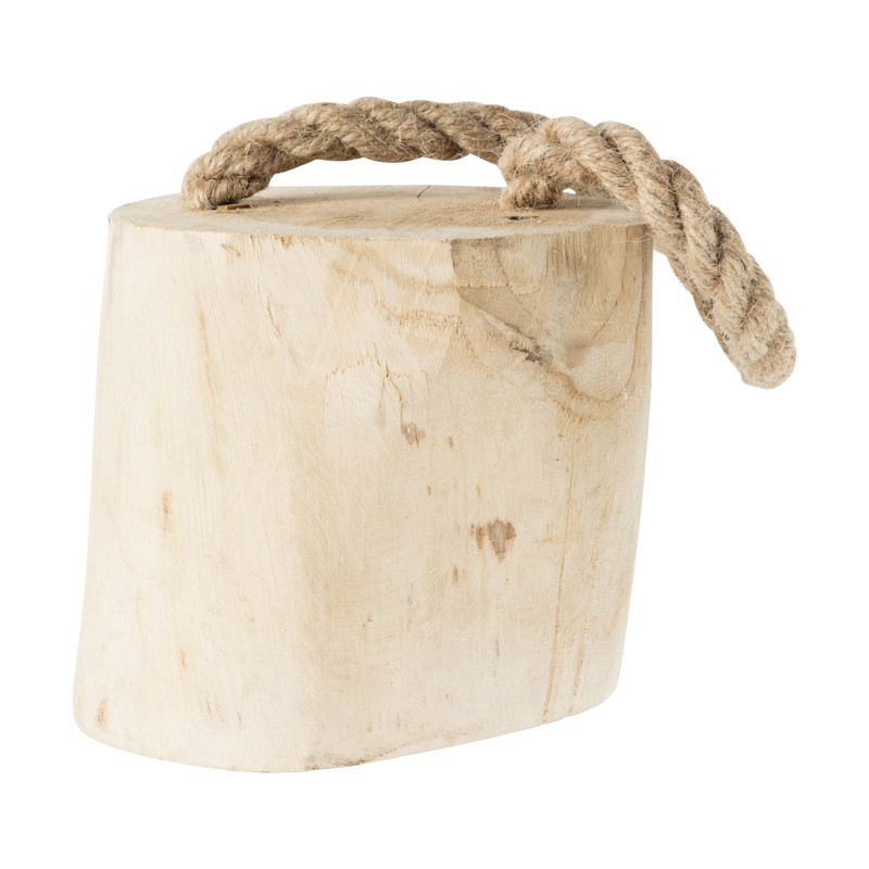 Deurstopper teak hout met touw - 14x14x17 cm