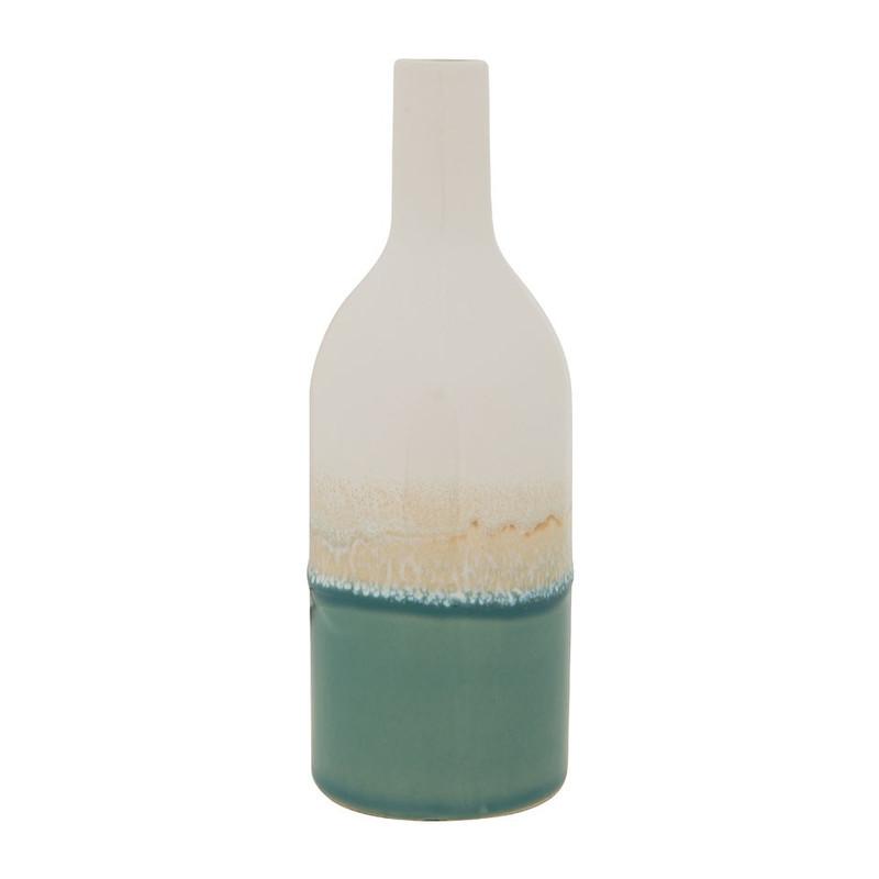 Vaasje fles - groen - 20 cm hoog