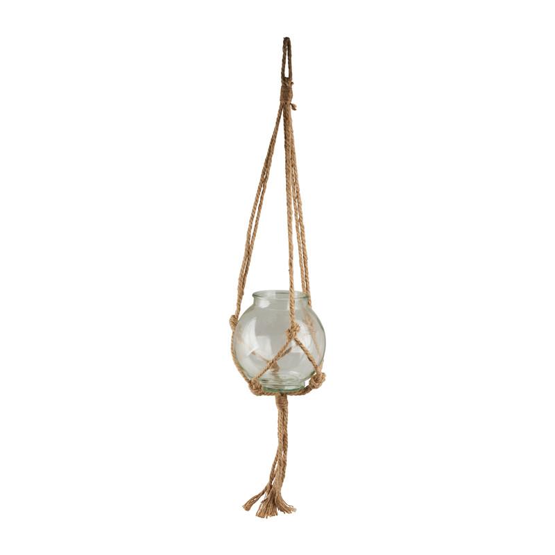 Plantenhanger glas macramé - 21x20 cm