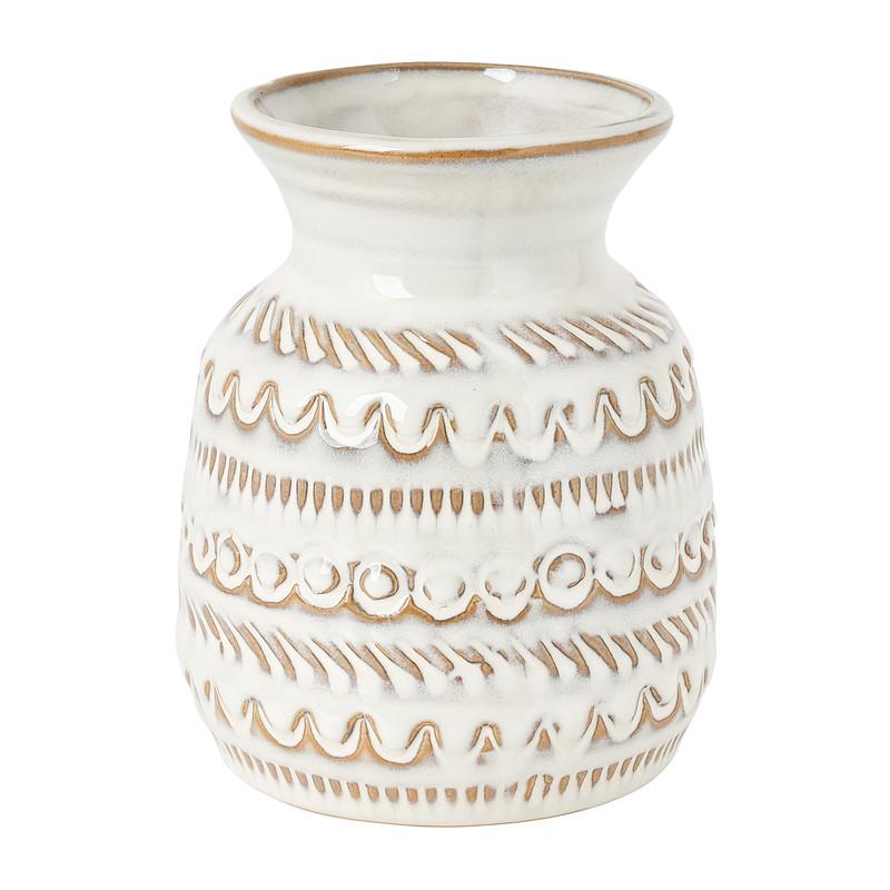 Vaas met reliëf - wit - klein - 12x15 cm