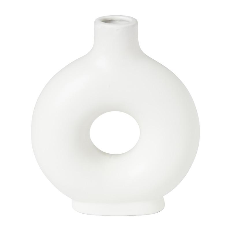 Donut vaas - wit - 14.5x5x17.5 cm