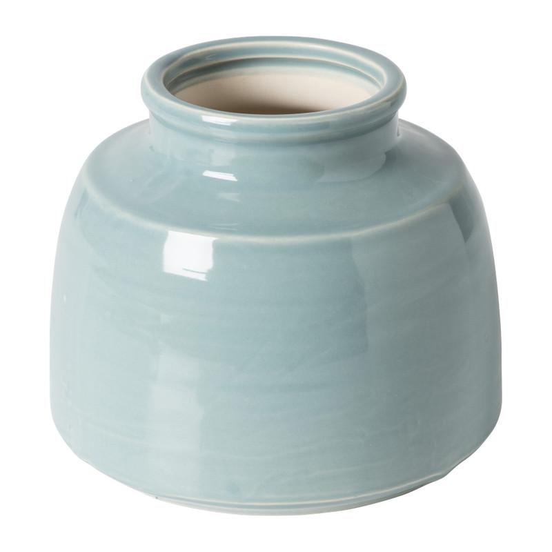 Vaas keramiek klein - blauw - ⌀18,5x15,5 cm