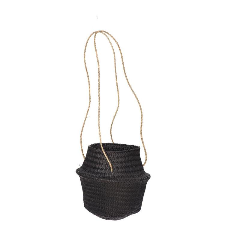 Plantenhanger mand gevlochten - zwart - 24x20 cm