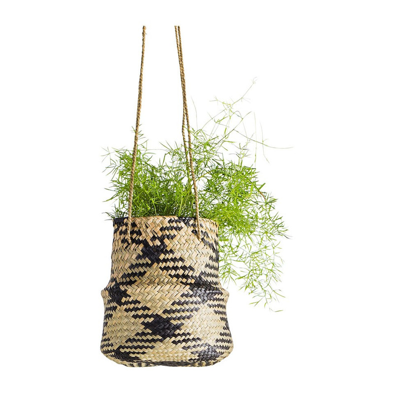 Plantenhanger mand gevlochten - naturel/zwart - 24x20 cm