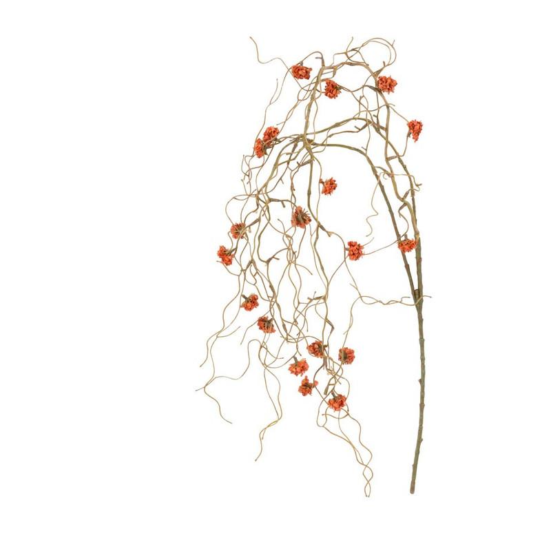 Tak met kleine bloemen - oranje - 110 cm